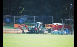 Progress is being made at Century Park as the city seeks to install a new press box and restrooms.