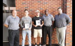 Two Blue Ridge High athletes were named The Greer Citizen/Owens Insurance Players of the Week during Week 7. Pictured left to right are: Coach Travis Henson, Grant Pcheny (Defense), Jason Sammons (Offense), Coach William Heath and Chad Hannon (Owens Insurance).