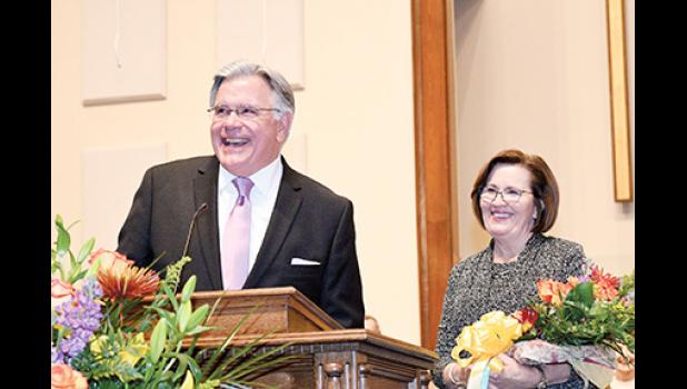 Pastor Drew Hines was recognized for 20 years of service at Washington Baptist Church recently.