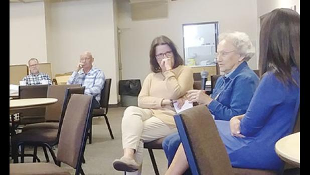 Ann Hensley shares memories of Taylors with residents during a monthly Taylors TownSquare meeting.