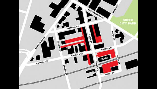 The red areas in this illustration depict the Greer Station alleys and parking lots set to be refurbished during the downtown streetscape project.