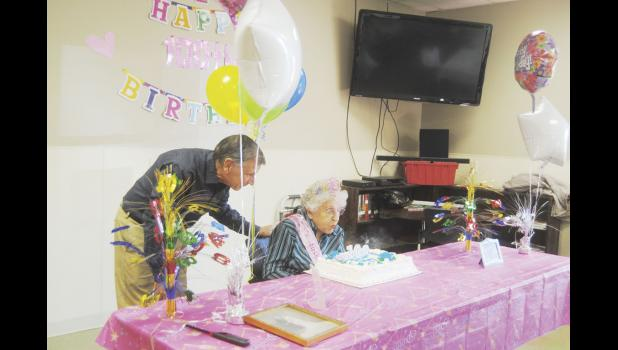 Doris Franchina, 100, celebrated her birthday last Thursday at the Needmore Center along with family and friends.