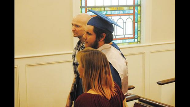 Byrnes senior Joshua Lee Vaughn celebrated with an early graduation ceremony in order for both of his parents, Nicholas and Kami Hughes, to be present.