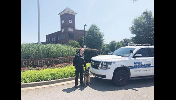 Greer K9 Ozzy's first day on patrol in the City of Greer was on May 16. The two-year-old German Shepherd was imported from Holland in the fall of 2019.