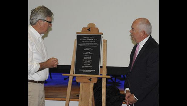 Mayor Rick Danner and City Administrator Ed Driggers unveiled the Center for the Arts plaque last fall.