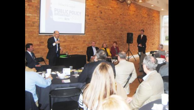 Rep. Tommy Stringer addressed community members at the first chamber public policy breakfast last Friday.