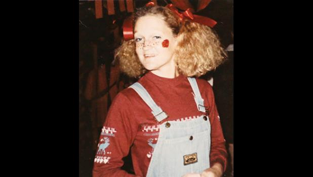 A young Kim Grant dressed as a clown at the state hospital's Halloween carnival.
