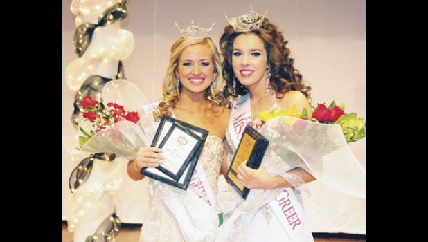 Emma Kate Rhymer and Anna Brown pose for a photo after being named Miss Greater Greer Teen and Miss Greater Greer Saturday. They will compete for the state title in Columbia this summer.
