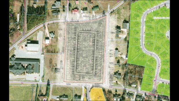 This illustration shows a proposed development off Ansel School Road in Greer. The project would add 62 single-family town homes behind Northwood Baptist Church.