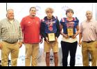Riverside's Alex Riddle and Clay Willoughby were named The Greer Citizen/Owens Insurance Offensive and Defensive Players of the Week for Week 3. Pictured are Shane Lynn (Owens Insurance), Coach Matt Rochester, Riddle, Willoughby, and Chris Crist (Owens Insurance).