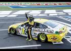Ryan Blaney, driver of the No. 12 Menards/Pennzoil Ford, celebrates after winning the Monster Energy NASCAR Cup Series Bank of America Roval 400 at Charlotte Motor Speedway on Sept. 30.