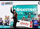 Ryan Blaney, driver of the No. 12 Snap-On Ford, celebrates in victory lane after winning the NASCAR Xfinity Series Hisense 4K TV 300 at Charlotte Motor Speedway on May 27 in Charlotte, North Carolina.