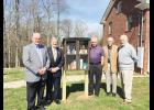 The blessing box was created by the church's Sunday School class. Pictured are L-R: Wayne Farmer, Pastor Michael Cheatham, Royce Greene, Tom Rodgers and Bill Bathgate.