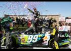 Carl Edwards celebrates in victory lane after winning the NASCAR Sprint Cup Series Toyota/Save Mart 350 at Sonoma Raceway.