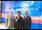 Greenville Mayor Knox White, left, joins Angela Webb, center, and Walter Davis, Co-CEO, right, to cut the virtual ribbon marking the grand opening of CertusBank in Greenville.