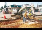 Sossamon Construction crews continue streetscape work on the 300 block of Trade Street.