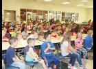 Mountain View and Tigerville Elementary students gathered in the Mountain View cafeteria to watch Michael Levine perform last week.