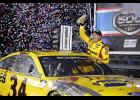 In a stunning upset at the end of an action-filled, rain-interrupted Daytona 500, Front Row Motorsports driver Michael McDowell claimed his first NASCAR Cup Series victory
