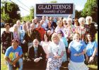 Glad Tidings Assembly of God marked the recent addition of new pastors, Adrian Willard and Karen Carpenter (front center), with a group photo of its congregation outside the church located at 100 Oneal Road in Greer. Glad Tidings offers Sunday School on Sundays at 10 a.m.; and worship services on Sundays at 11 a.m. and 5 p.m. and Wednesdays at 7 p.m.