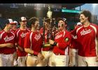 Members of the Greer American Legion Post 115 senior team celebrated a title win last Friday at Segra Park in Columbia.