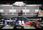 William Byron, driver of the No. 24 Liberty University Chevrolet, celebrates in Victory Lane after winning the NASCAR Cup Series Coke Zero Sugar 400 at Daytona International Speedway on Aug. 29.