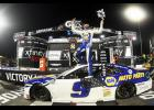 Chase Elliott, driver of the No. 9 NAPA Auto Parts Chevrolet, celebrates in victory lane after winning  the NASCAR Cup Series Xfinity 500 at Martinsville Speedway on Nov. 1.
