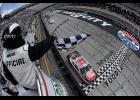 Christopher Bell, driver of the No. 20 Rheem Toyota, crosses the finish line to win the NASCAR Xfinity Series Alsco 300 at Bristol Motor Speedway in Bristol, Tennessee.