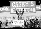William Byron, driver of the #9 AXALTA/WINDSOR Window & Door Chevrolet, celebrates in Victory Lane after winning the NASCAR XFINITY Series American Ethanol E15 250 at Iowa Speedway on June 24 in Newton, Iowa.