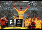 Joey Logano, driver of the No. 22 Shell Pennzoil Ford, celebrates in Victory Lane after winning the NASCAR Cup Series FanShield 500 at Phoenix Raceway in Avondale, Arizona.