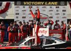 Christopher Bell, driver of the No. 20 Rudd Toyota, celebrates in Victory Lane after winning the NASCAR Xfinity Series CTECH Manufacturing 180 at Road America on Aug. 24.