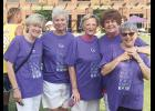 Cancer survivors Carole McMahan, Doris McLallen, Joyce Rogers, Heather Smith and Jeanne Brown attended Greer's Relay for Life event in 2017.