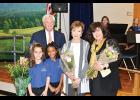 Skyland Elementary Principal Dr. Carolyn Styles, right, was recognized during a recent retirement ceremony along with retiring teacher Ron Gunter, left, and secretary Shirley Lindley, center.