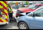 A collision between a red Ford pickup and blue Honda Odyssey occurred Friday afternoon on Buncombe Street near Sonic.  One man was transported to the hospital by ambulance with minor injuries.