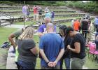 Community prayer continued at Greer City Park last Wednesday evening.