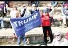 Rally for Trump: A pro-Trump crowd came out to Greer City Park on Saturday for a March 4 Trump rally, one of many across the nation. Sharon Blanton (in black) and Janeen Pasquarella (in red) show their support at the amphitheater.